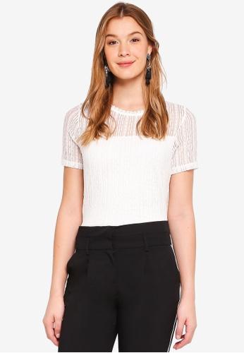 Dorothy Perkins 白色 Ivory Lace Yoke T-Shirt 6BAE1AACF21659GS_1