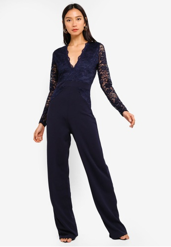 MISSGUIDED navy Lace Top Jumpsuit A94C4AA75DC3ACGS_1
