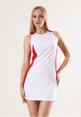 AMNIG white Color Block Shift Dress 28B2BAAD7299E0GS_1