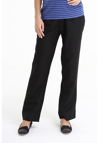 Bove by Spring Maternity black woven Pants Rayon Linen IB3001 SP010AA76JLZSG_1