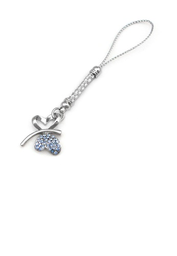 Glamorousky silver White Strap with Double Heart Butterfly in Blue Austrian Element Crystals 93CCDAC0BB679EGS_1