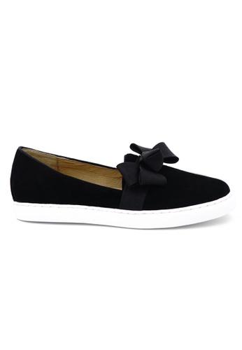 OSCAR & MAYA black LYON Suede Leather Bow tie Pattern Slip-ons OS304SH00GLRHK_1