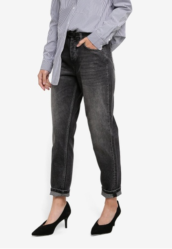 Selected Femme black Frida High Rise Faded Mom Jeans SE157AA0S3Z9MY_1