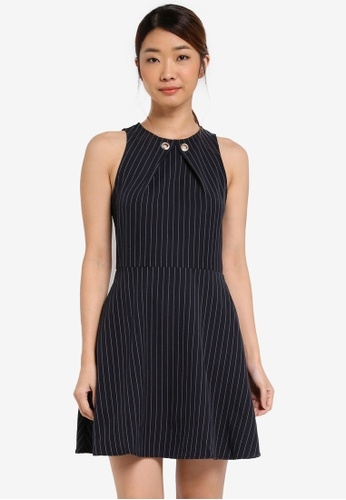 Something Borrowed navy Neckline Detail Waisted A-line Dress A20BDAACC469C6GS_1
