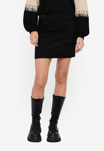 JACQUELINE DE YONG black Kirsten Faux Suede Skirt F8528AAF6DABC8GS_1