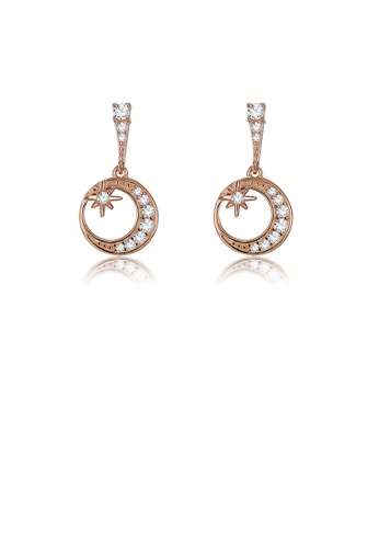 Glamorousky white 925 Sterling Silver Plated Rose Gold Star and Moon Earrings with Austrian Element Crystal 2F367ACFB6E2F6GS_1