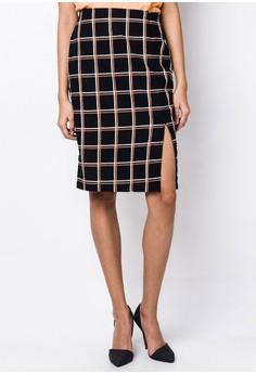Plaid Pencil Cut Skirt with Slit