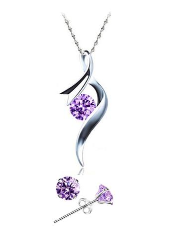 YOUNIQ silver YOUNIQ Ribbon 925 Sterling Silver Necklace Pendant with Purple Cubic Zirconia & Earrings Set YO999AC16SFZMY_1