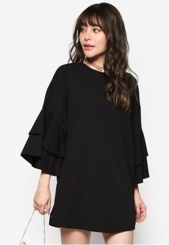 層次喇叭zalora 折扣碼袖洋裝, 服飾, 洋裝