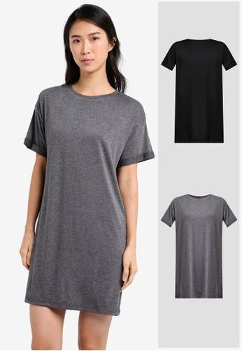 ZALORA BASICS black and grey 2 Pack Essential T-Shirt Dress ZA274AA0JFNLSG_1