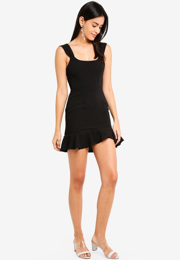 Asymmetrical Ruffle INDIKAH Hem Dress Black TOqRTw