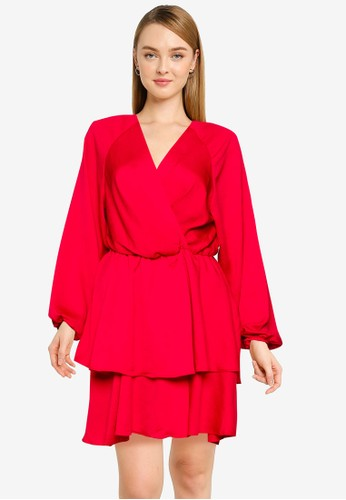 FORCAST red Gisele Tiered V-Neck Dress 98659AABBFD62AGS_1