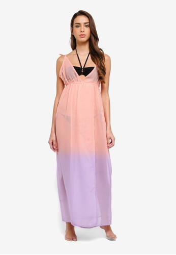 South Beach pink and purple Pink To Purple Ombre Beach Dress With Split 4D018AAEEFB18AGS_1