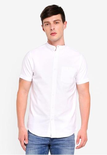 Brave Soul blue Mandarin Collar Short Sleeve Shirt F8566AA4FFF5FEGS_1