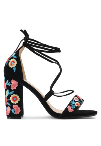 Public Desire black Wildfire Faux Suede Embroidered Heeled Sandals PU378SH0SIQOMY_1