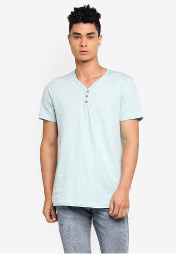 Cotton On blue Essential Henley T-Shirt 65442AA7A734B1GS_1