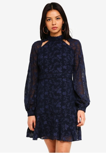 Forever New navy Billie Embroidered Dress 24B34AAD560CD4GS_1