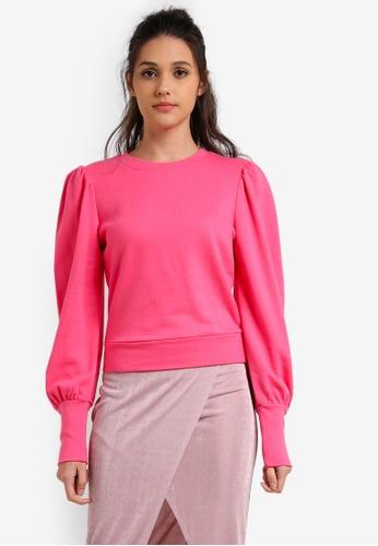 Miss Selfridge pink Pink Volume Sleeve Sweatshirt MI665AA0RX9SMY_1