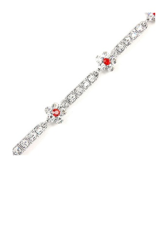 Glamorousky silver Flower Bracelet with Red and Silver Austrian Element Crystals C8346AC2D519CBGS_1