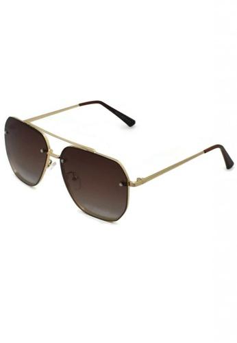 jojo brown Full Frame Screwed Detailed Aviator Polarized Sunglasses 10791GL95F0FBAGS_1