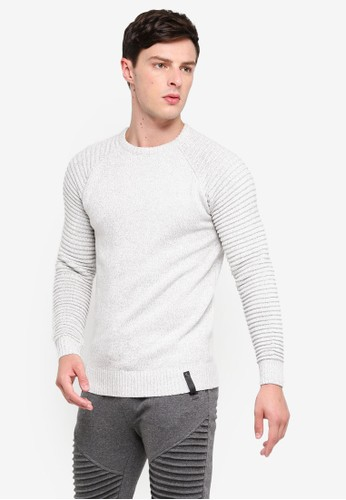 Indicode Jeans white Maxime Ribbed Raglan Knitted Sweater 2FDA0AAD04A670GS_1