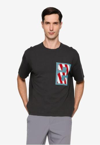 URBAN REVIVO grey Print Knit T-Shirt C8B32AA4D51CB9GS_1