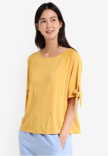 Mango yellow Knot Detail T-Shirt MA193AA0RAVUMY_1