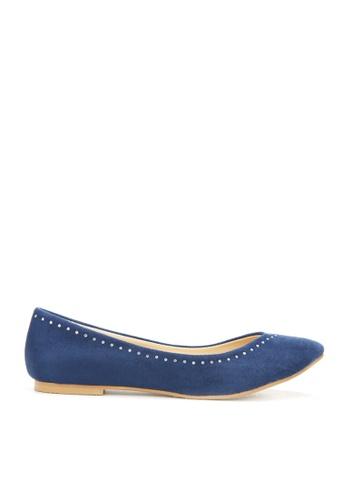 KissXXX 藍色 時尚心機美鑽效果V型淺口舒適平底休閒鞋 KI603SH09MTRTW_1