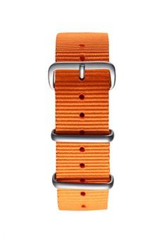 NATO霧面銀橙色錶帶