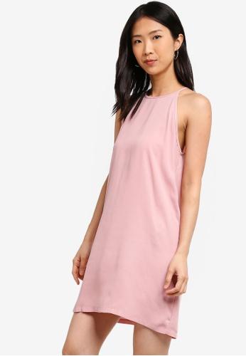 ZALORA BASICS pink Basic Halter Shift Dress D689BAAE396542GS_1