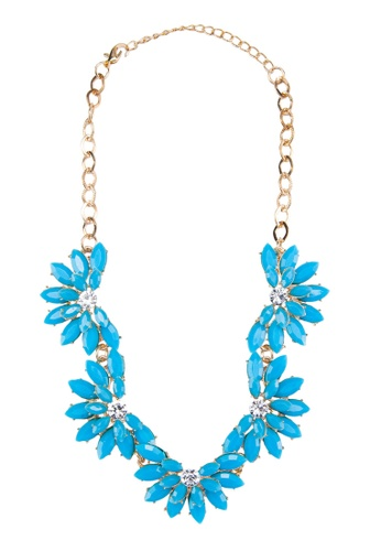 Zolace blue and multi and gold Blooming Season Necklace ZO350AC51AMQMY_1