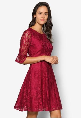 蕾絲修身傘擺洋裝, zalora 衣服尺寸服飾, 洋裝