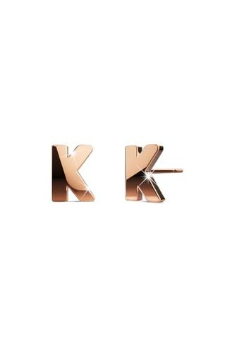Bullion Gold gold BULLION GOLD Dainty Alphabet Letter Earring Rose Gold Layered Steel Jewellery - K B2FFAAC7AB6F06GS_1