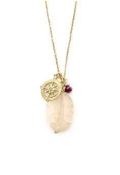 Agate Stone Necklace with Compass Charm