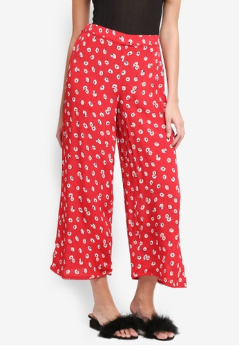 Miss Selfridge red Saly Crop Wide Leg Trousers 786E9AA14EEE1AGS_1
