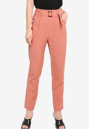 ZALORA WORK pink Self Fabric Belt Pants 5A2C1AA03C5B95GS_1