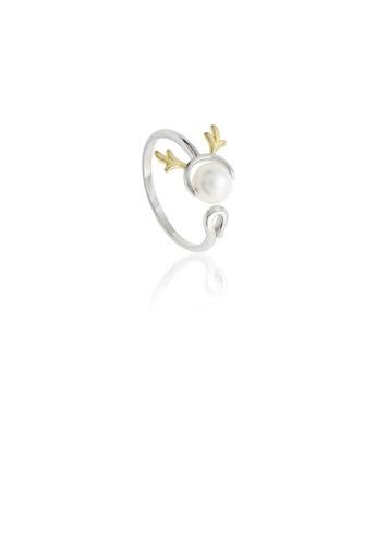 Glamorousky white 925 Sterling Silver Simple Cute Elk Freshwater Pearl Adjustable Ring 80FF5AC0DAA5EFGS_1