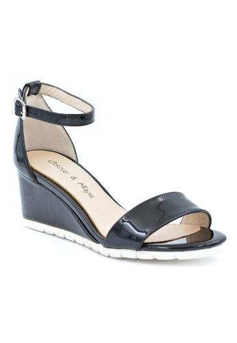 OSCAR & MAYA black GIGI Ankle Strap Wedge Sandal OS304SH29GKOHK_1