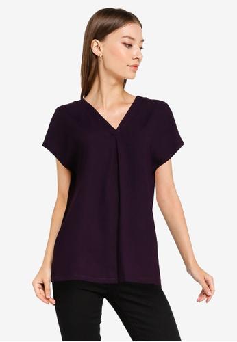 ZALORA WORK purple V Neck Pleated Top 56398AA12DCA9AGS_1