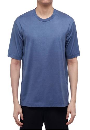 CK CALVIN KLEIN 藍色 雙層絲光棉短袖T恤 5BBEAAA6BC6E0FGS_1