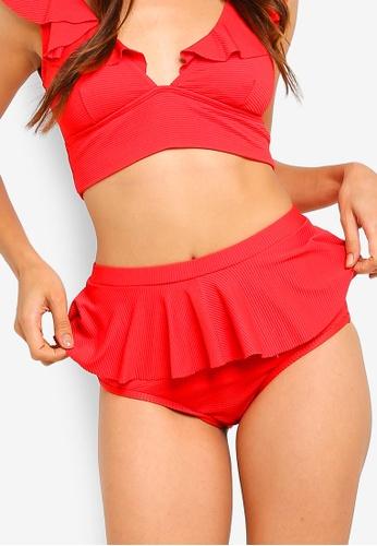 Duskii red Cancun Frill Textured Bikini Bottom 9685BUSE531B2AGS_1