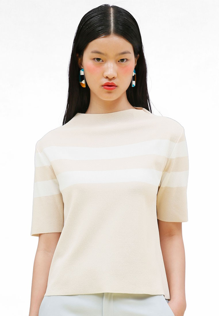K Fashion Stripe Half Neck Knit Top