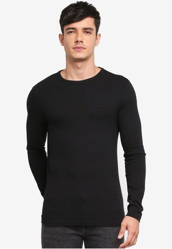 River Island black Long Sleeve Muscle Pique 365DEAAA726635GS_1