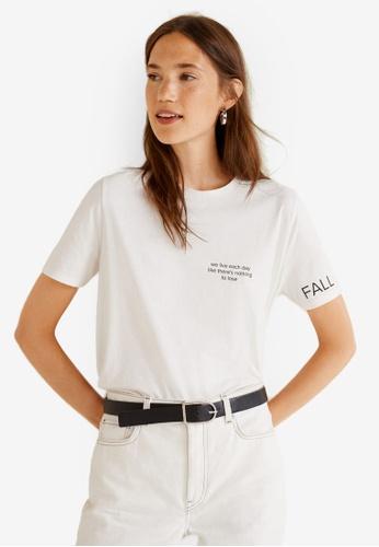 Mango white Printed Message T-Shirt A5BECAAB2379DCGS_1