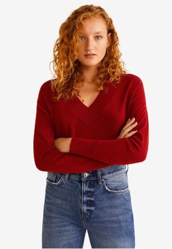 MANGO red V-Neckline Sweater 7B59CAA942FC6EGS_1