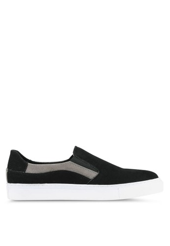JAXON black and multi Faux Suede Leather Colour Block Slip Ons 2B029SH99A99DAGS_1