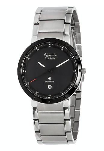 Alexandre Christie silver Alexandre Christie Jam Tangan Pria - Silver Black - Stainless Steel - 8229