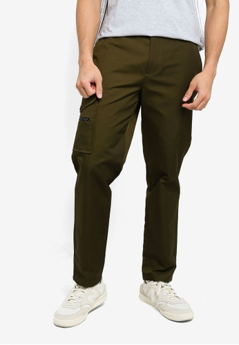 Mennace green Nylon Canvas One Pocket Chino Trousers BD2B7AA5DF51A1GS_1