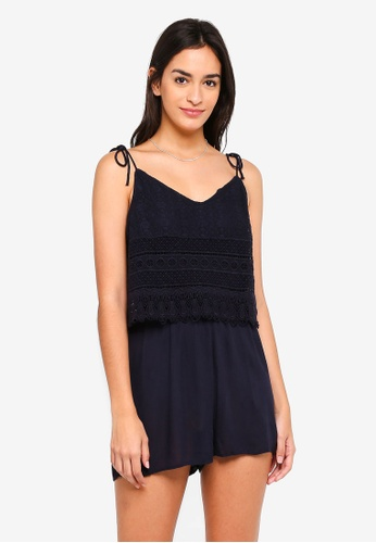 ONLY navy Peach Strappy Playsuit FF438AAD30B208GS_1
