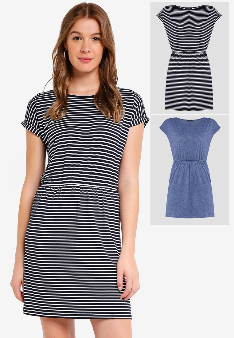 Stripe 2 Shirt Navy ZALORA Blue Marl White Basic Dress pack BASICS Waist T with Gathered r6SwrqH